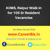 AIIMS, Raipur Walk in for 105 Sr Resident Vacancies