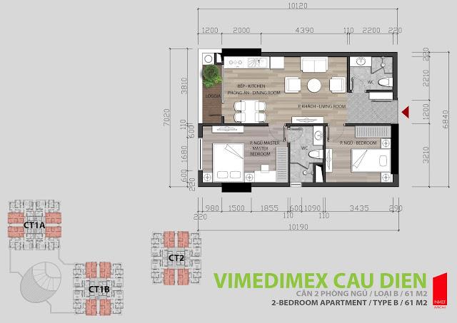 Thiết kế căn hộ 2 ngủ 60,7m2