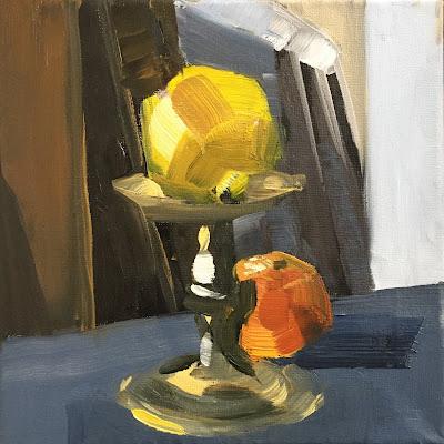 Oil sketch of a lemon and tangerine by Philine van der Vegte