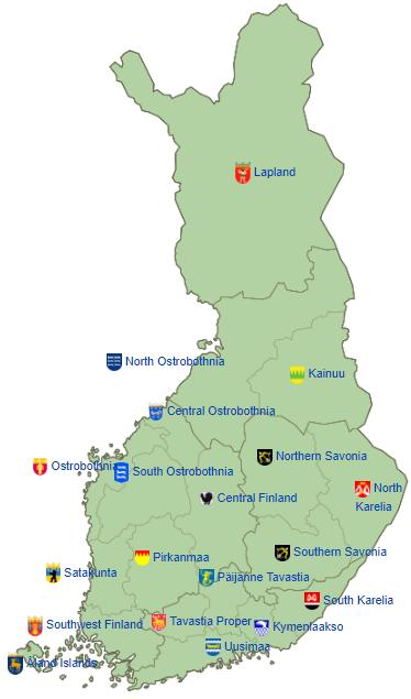 Peta pembagian wilayah administratif Finlandia