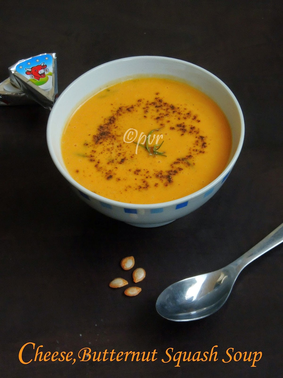 Cheese, butternut squash soup