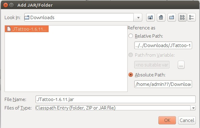 Memilih File JTatto pada PC