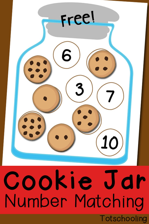 photograph regarding Number One Printable named Cookie Jar Amount Matching Cost-free Printable Totschooling