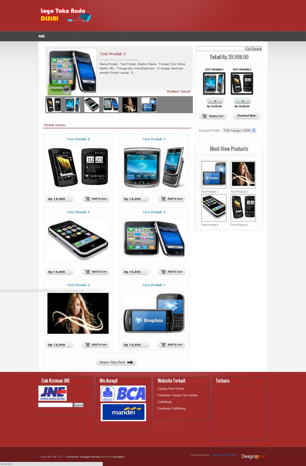 Safri99 gratis premium blogger template toko online for Shopping cart template for blogger
