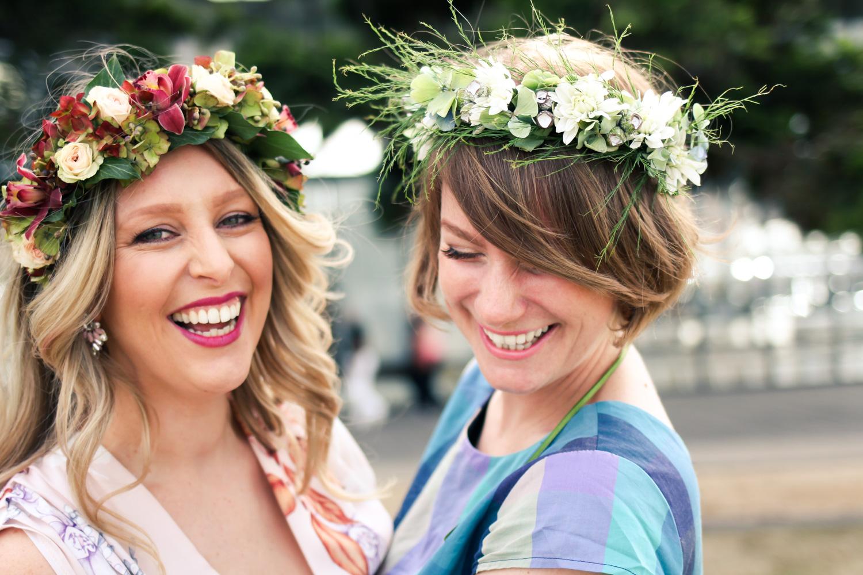 @findingfemme wears flower crown from Jenny Burke Florist in Ballarat.