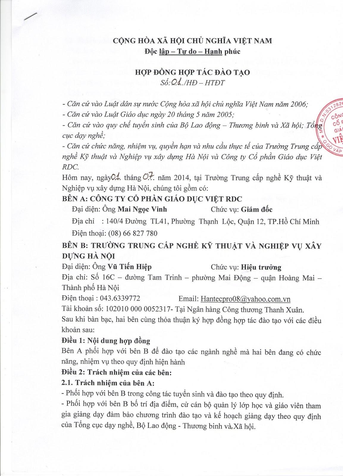 Trường Trung Cấp Kỹ Thuật Và Nghiệp Vụ Xây Dựng Hà Nôị - Liên Kết Đào Tạo - Trung Tâm Giáo Dục Việt Chi Nhánh Công Ty Cổ Phần Giáo Dục Việt RDC