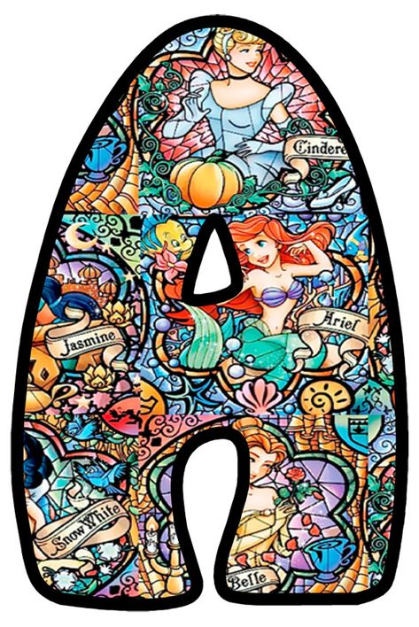 Abecedario con Vitral de las Princesas Disney. Disney Princess in Stained Glass Alphabet.