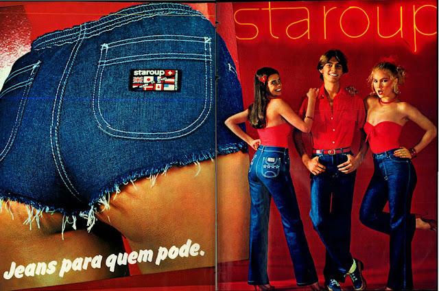 anúncio jeans staroup de 1979;  1979; moda anos 70; propaganda anos 70; história da década de 70; reclames anos 70; brazil in the 70s; Oswaldo Hernandez