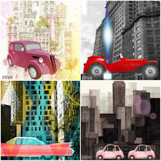 LAMINAS CITY AND CARS COLLAGE