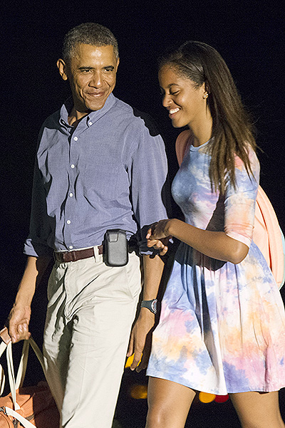 Barack Obama with his daughter Miliey