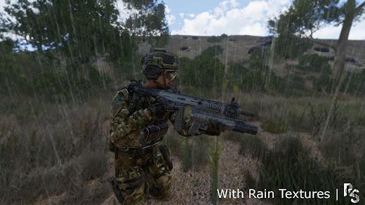 装備に雨の質感を出すArma3用Rain Textures MOD