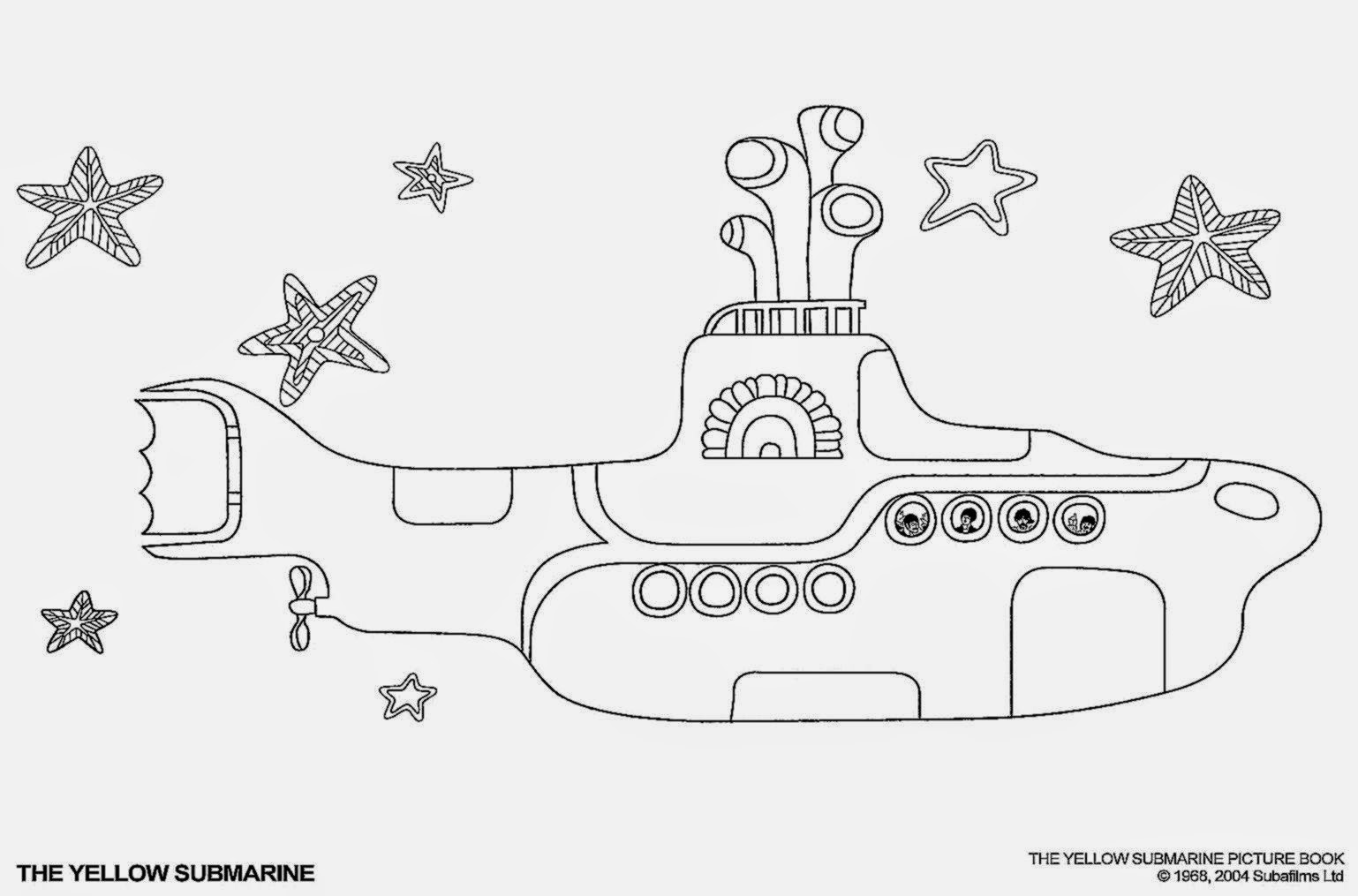 yellow submarine coloring pages - Beatles Coloring Book