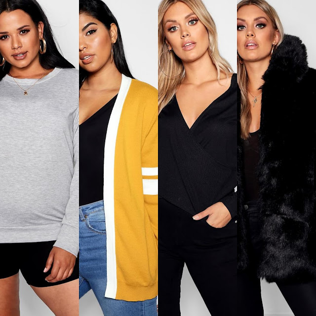 Plus Crew Neck Sweat || Plus Stripe Contrast Oversized Cardigan || Plus Wrap Rib Knitted Top || Plus Panelled Faux Fur Coat