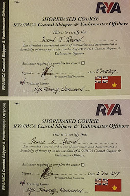 Photo of our RYA Yachtmaster Offshore certificates
