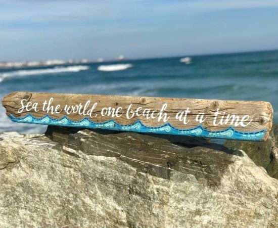 Painted Driftwood Beach Art Sign with Travel Quote