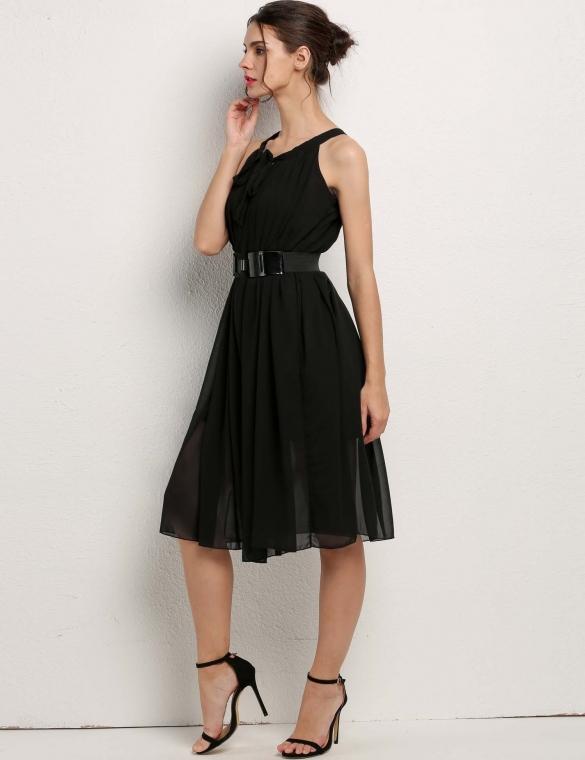 Vestido negro y elegante para el verano. | Vestidos baratos online.