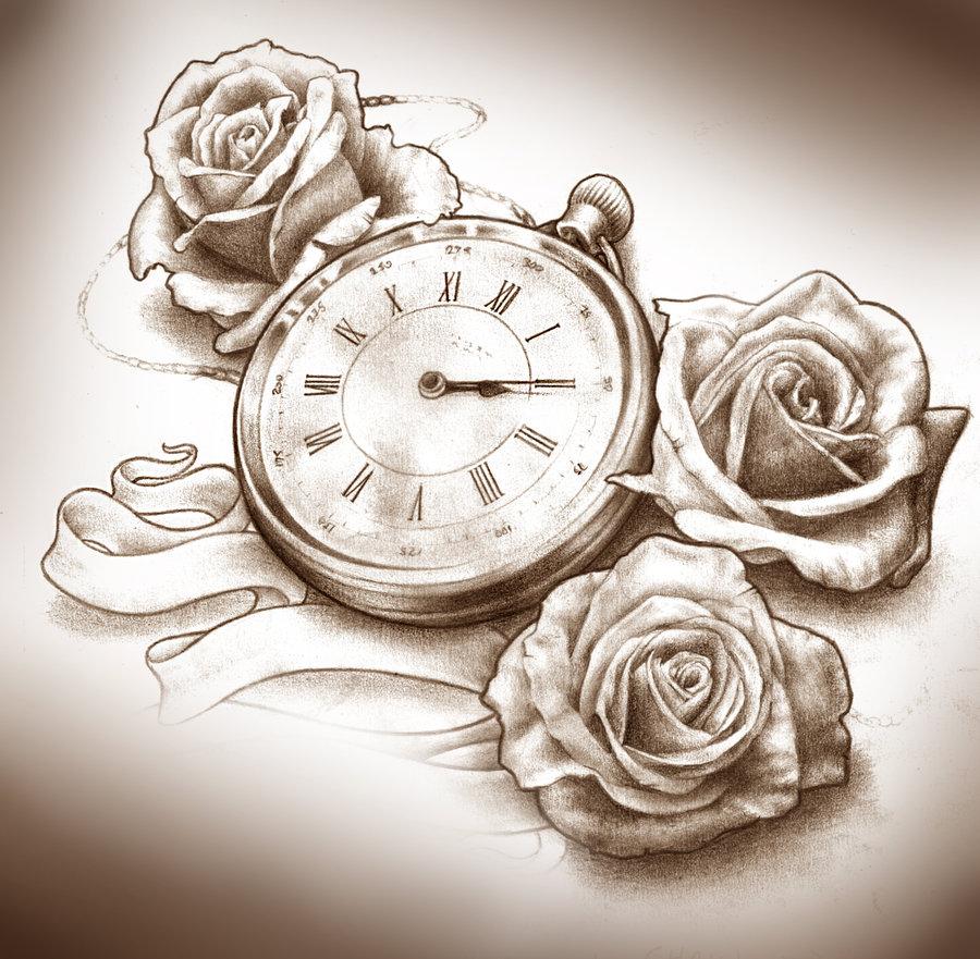 Rose Clock Tattoo Designs Drawing: Rose Tattoo Drawing