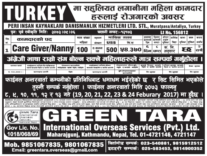 Jobs in Turkey Europe for Nepali, Salary Rs 54,370
