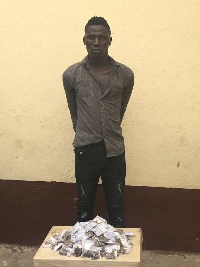 RRS officers arrested a 27 year old man with 134 Raps of Indian Hemp packaged in drug sachets  (See photos)
