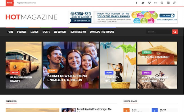Hot Magazine Responsive Free Blogger Theme