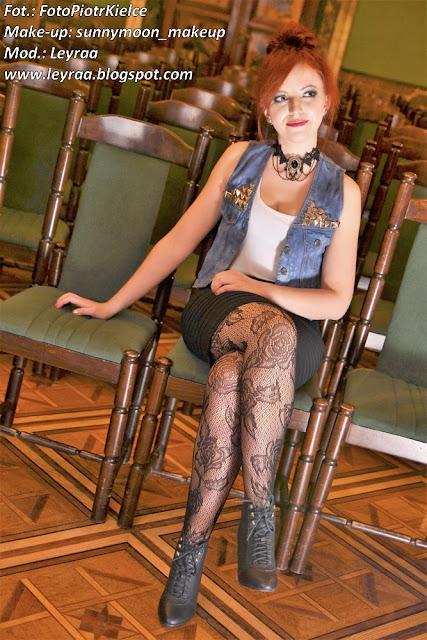 7.12.2016 Kamizelka z ćwiekami DIY, bokserka, bandażowa mini, szpilki, koronkowe rajstopy, choker, Sesja WDK Kielce Goth Style Glamour make-up