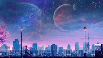 Anime, Boy, Riding, Bicycle, Moon, Night, City, Scenery, 4K, #6.1292