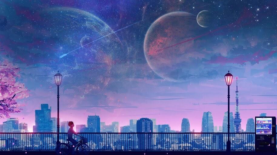 Anime, Boy, Riding, Bicycle, Moon, Night, City, Scenery, 4K, #6.1292