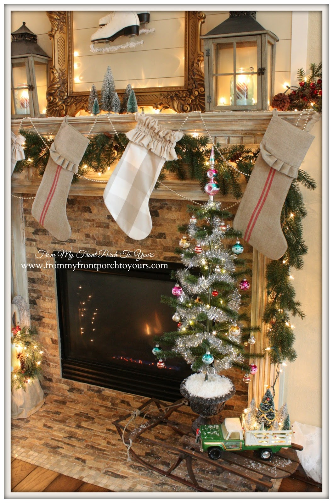 French Farmhouse-French Country- Vintage Christmas Mantel- From My Front Porch To Yours