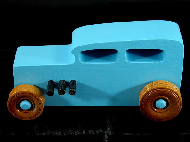 20171023-175944 - Wooden Toy Car - Hotrod Freaky Ford - Pine - Blue - Shellac Wheels- Custom Order
