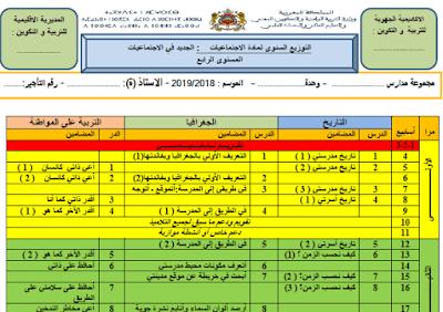 التوازيع السنوية للمستوى الرابع ابتدائي لمواد اللغة العربية