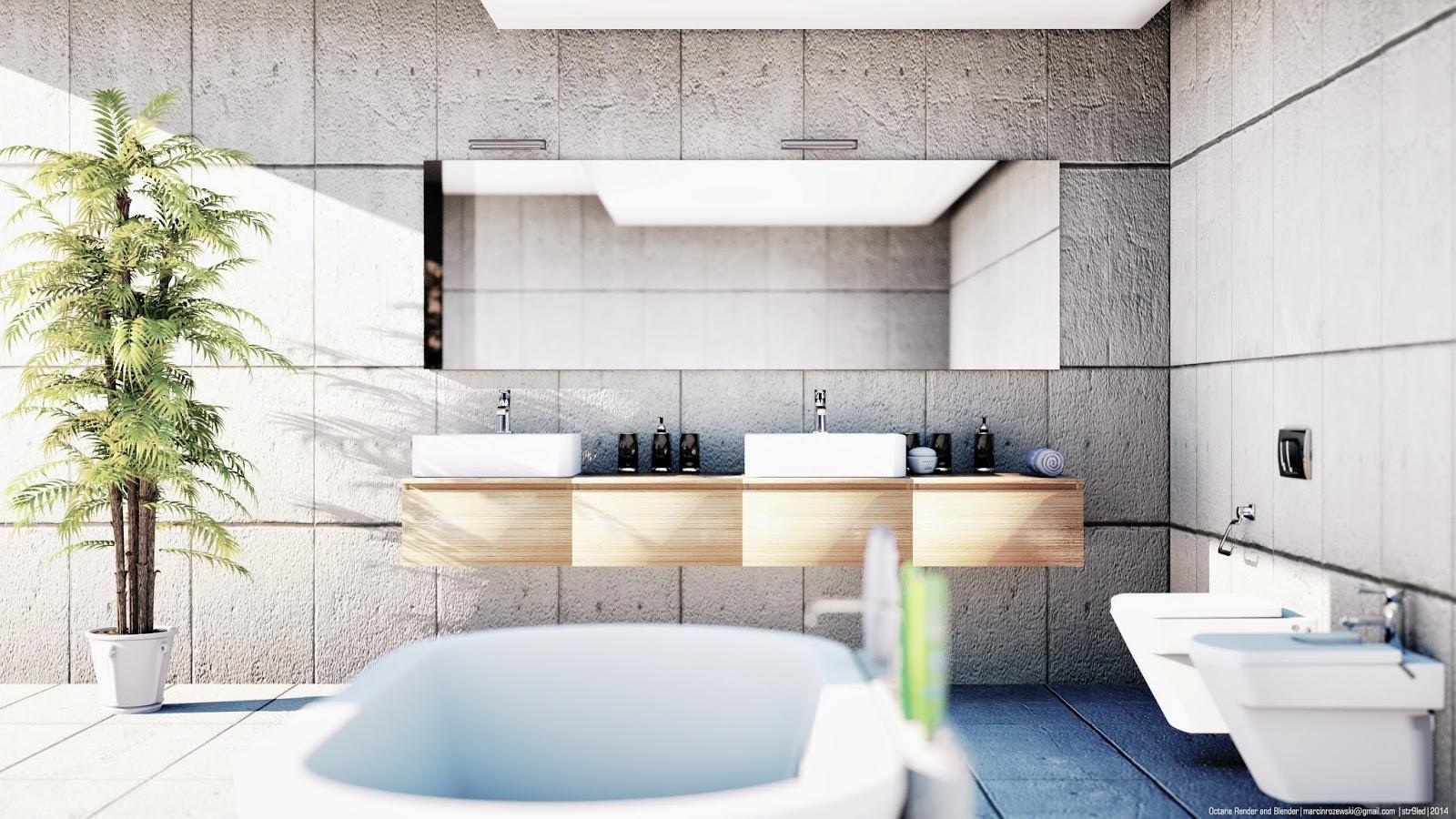 Bathroom Octane Render and Blender Architectural Rendering