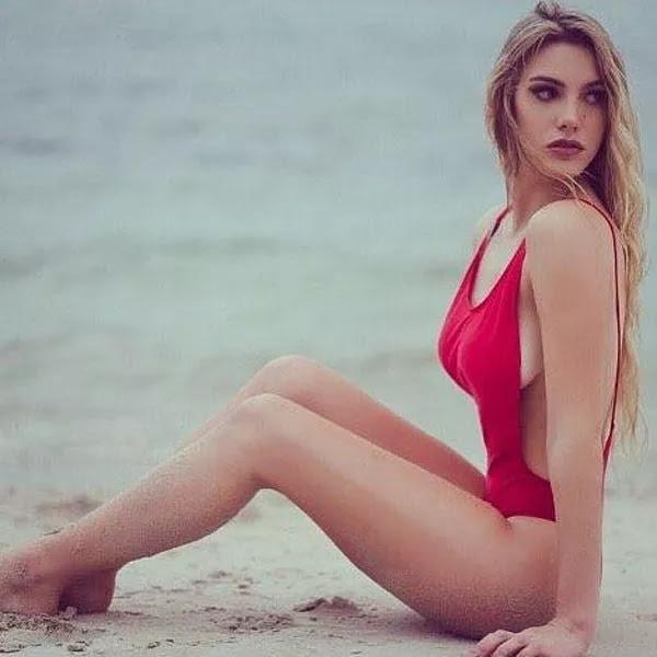 lele pons red color bikini