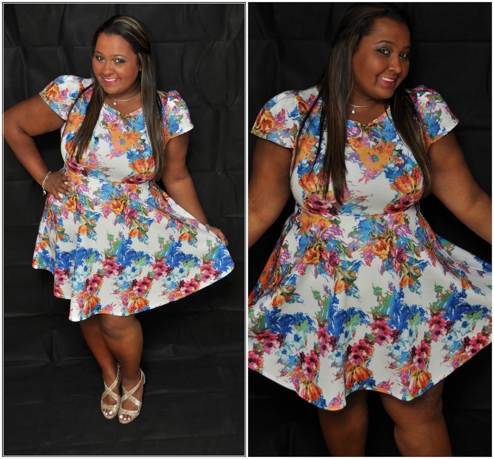 5dd656deb1c Boohoo Plus Floral Print Skater Dress  Review  - The World Through ...