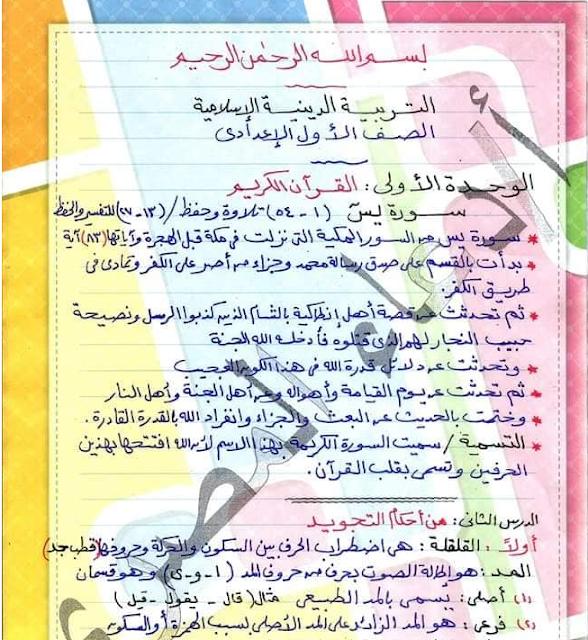 مراجعة التربية الاسلامية والقصة للصف الاول الاعدادى ترم أول 2020