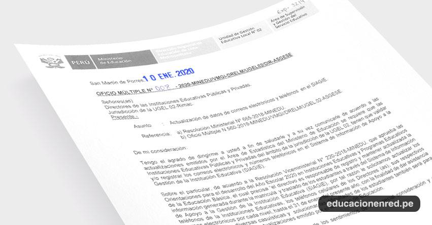 UGEL 02 solicita a directores de colegios actualizar datos en el SIAGIE