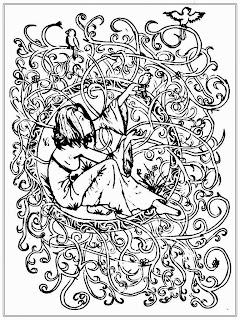 Girl And Bird Free Adult Coloring Pages