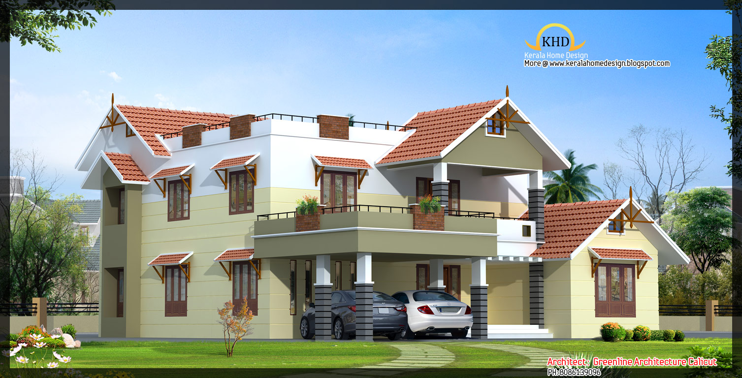 Front Elevation Of Villas In Kerala : Beautiful luxury villa elevation sq ft kerala