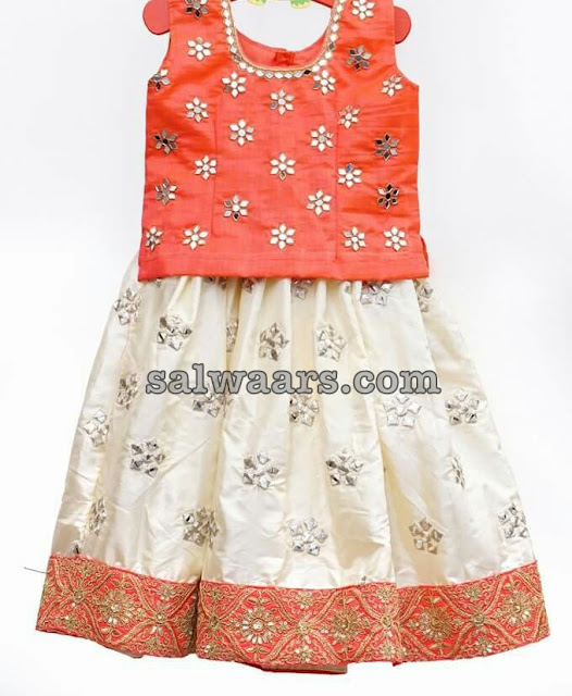 White Mirror Work Silk Lehenga
