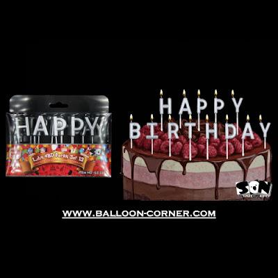 Lilin Ultah Motif HAPPY BIRTHDAY Warna Silver (SON Product)
