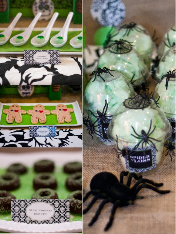 A Spellbinding Green & Black Halloween Cocktail Party - via BirdsParty.com