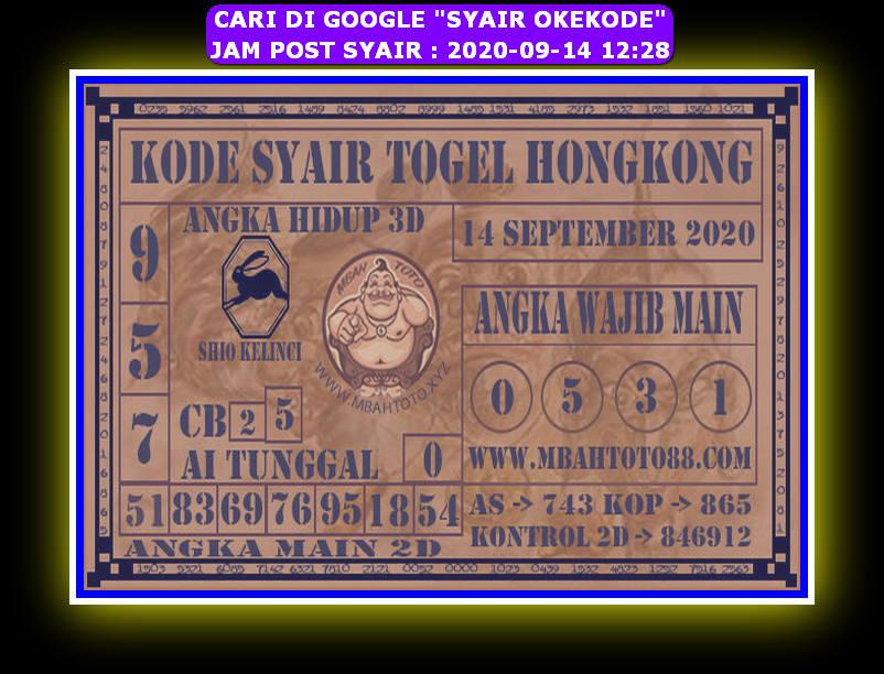 Kode syair Hongkong Senin 14 September 2020 306