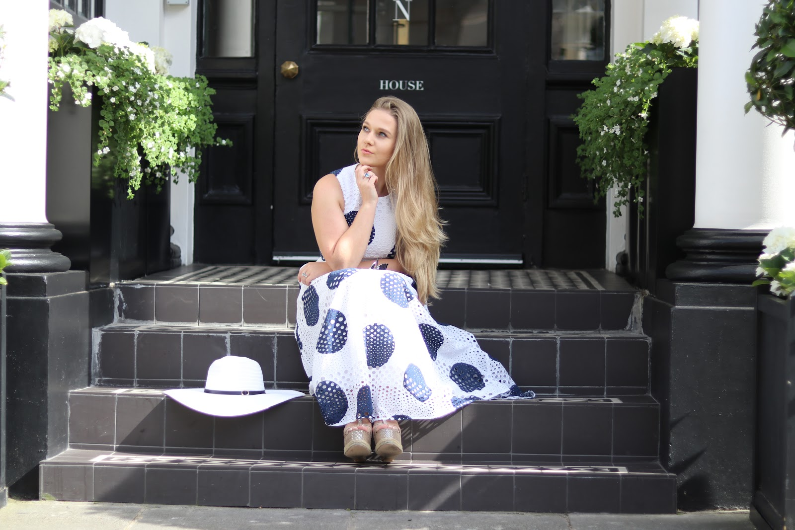 Blonde Girl, Katie Heath wearing Polka Dot L.K.Bennett Dress at Afternoon Tea at the Kensington Hotel, Chelsea, London