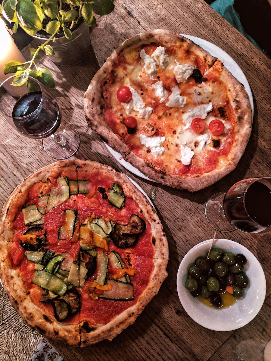 Mother's vegan pizza and the 'Bufala' vegetarian pizza.