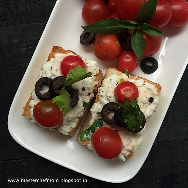 MASTERCHEFMOM: Italian Ricotta Crostini with Olives and Cherry Tomatoes Party Appetiser  How