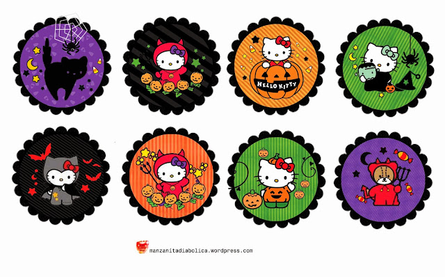 Hello Kitty Halloween Special: Free Printable Labels or Toppers.