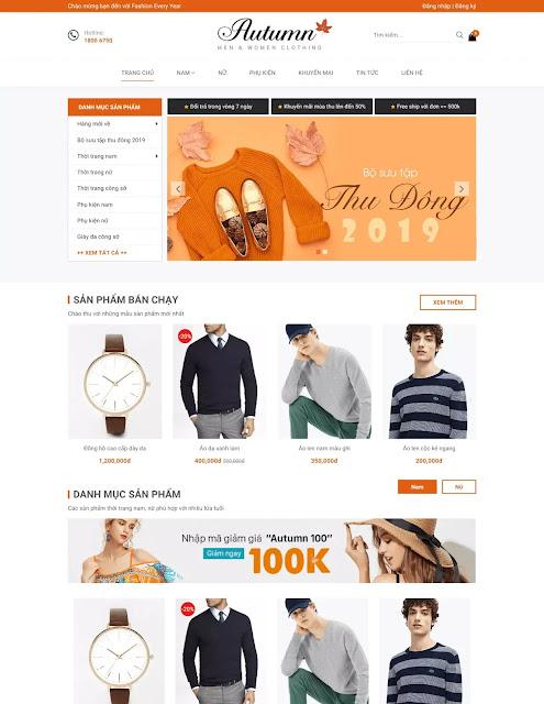 Template blogspot bán hàng thời trang phụ kiện