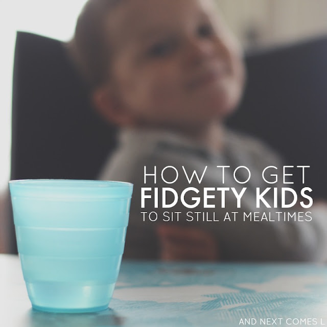 Get your fidgety kids to sit still at mealtimes with this one practical tip from And Next Comes L