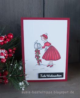 weihnachtskarte christmas in the making stampin up minikatalog sechziger jahre mädchen am briefkasten von demonstratorin in coburg susis basteltipps