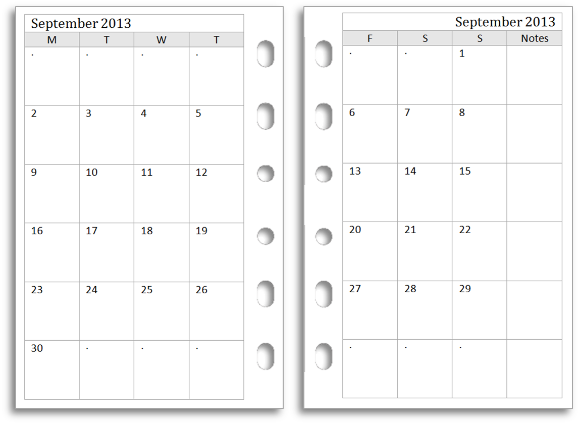 Philofaxy filofax pocket monthly diaries for free download for Double month calendar template