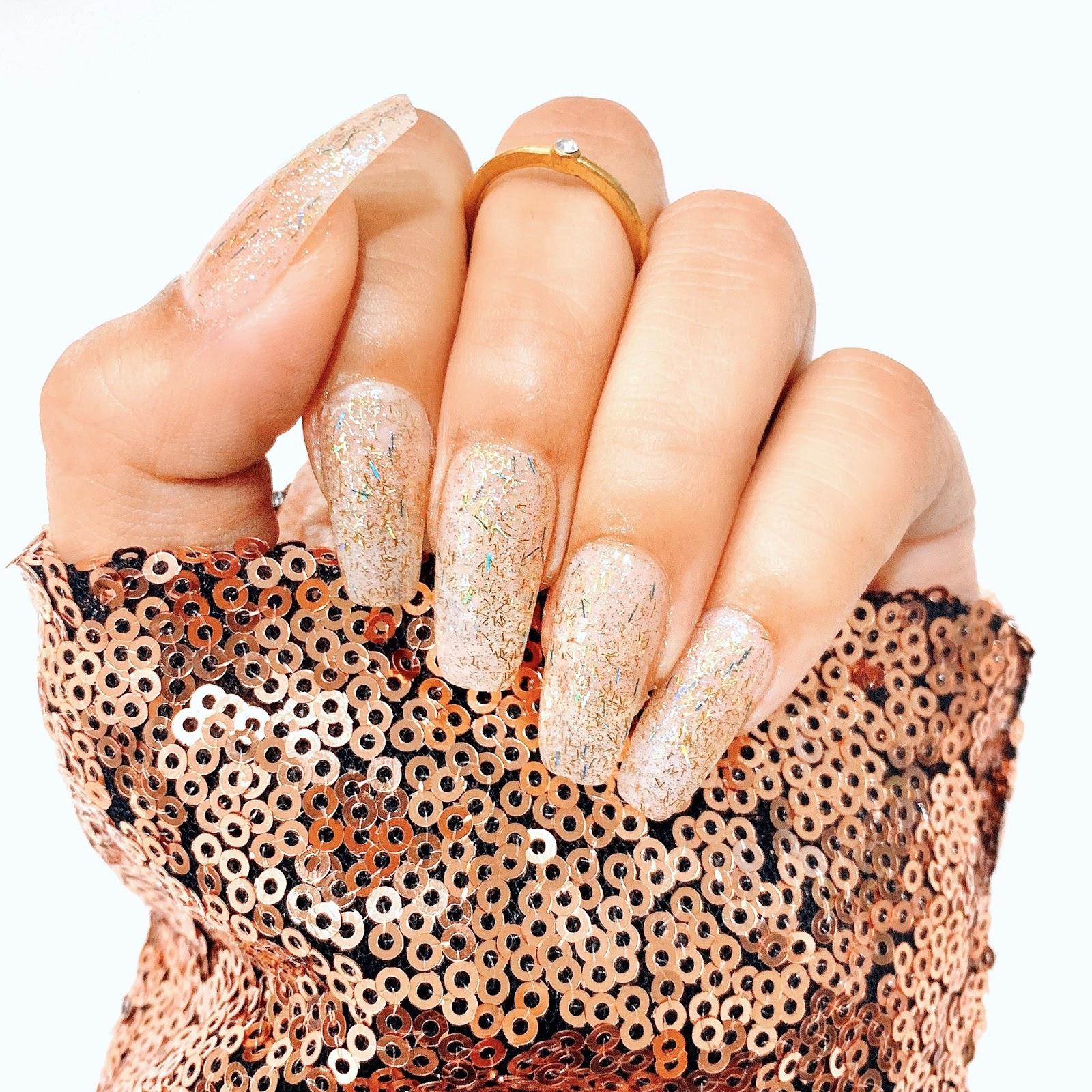 coffin-shape-glitter-nails